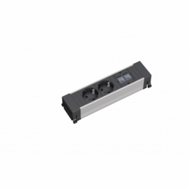 POWER FRAME, 2T SCHUKO + 2XRJ45 CAT5E