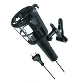 PLASTIC COM clip 60W E27 230V PRETO