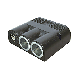 TOMADA TRIPLA SALIENTE C USB 12-24V5V DC 5000mA