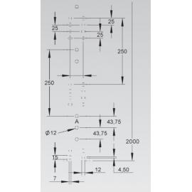 CALHA METALICA C/TAMPA 100x100x2000 MM