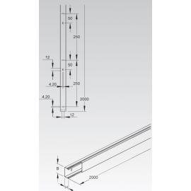 CALHA METALICA C/TAMPA 16x16x2000 MM