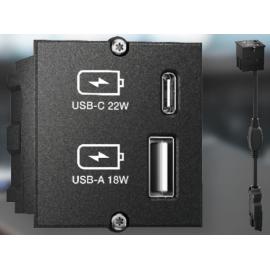 MODULO CHARGER 1x USB-A (18W) + 1x USB-C (22W)