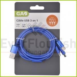 CABO USB 1m (3em1) USB- Micro USB USB C Light