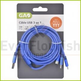 CABO USB 25m (3em1) USB- MicroUSB USB C Light