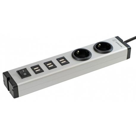 BLOCO 2x Schuko + 3x USB DUPLO + INT + 3m CABO