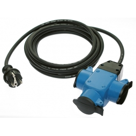 3-way rubber socket outlet blue with self-closing