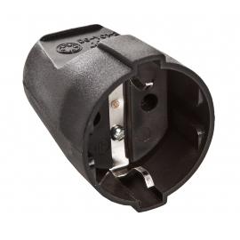 Strait plug 2P+earth black