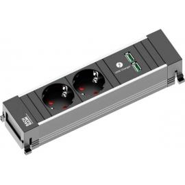 POWER FRAME ALU 2XSCHUKO 2XCARREGADOR USB