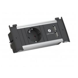 KAPSA XS 1x SCHUKO + CARREGADOR USB 2M CABO